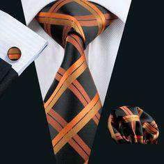 Black and Orange Plaid Necktie Set LBW344
