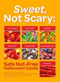 Halloween should be safe for all kids, remember those with nut allergies. Some Nut-Free Hallween Candy to consider for your goblins and trick or treaters. Tree Nut Allergy, Peanut Allergy, Egg Allergy, Nut Free Snacks, Peanut Free Foods, Kids Allergies, Allergy Free Recipes, Blog, Peanuts Halloween