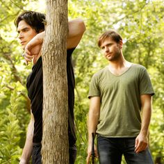 The Vampire Diaries - Damon and Alaric Vampire Diaries Damon, Vampire Dairies, Vampire Diaries The Originals, Stefan And Caroline, Michael Trevino, Supernatural Beings, Mystic Falls, Enjoying The Sun, Damon Salvatore