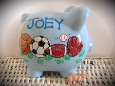 Personalized Hand Painted Piggy Bank With Sports Theme
