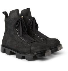 Rick OwensPlinth Distressed Leather Boots MR PORTER
