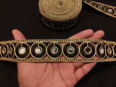 Indian Mirror Piece Work Black and Gold Floral Embroidered Ribbon Lace Trim for Decoration of Clothing Accessories, Sewing and Crafting by KingsOfArt on Etsy Indian Accessories, Clothing Accessories, Mirror Work, Lace Border, Party Wear Dresses, Gold Material, Festival Wear, Wedding Wear, Lace Trim