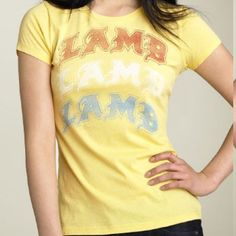 L.A.M.B. Gwen Stefani yellow checkered tee shirt S This is a super cute limited edition (exclusive to Nordstrom) tee from L.A.M.B by Gwen Stefani. These were made in small quantities and only available at Nordies stores and website. Size small. No holes tears rips or stains. Smoke free pet free home. Check out my closet for more L.A.M.B, Harajuku Lovers, and Lululemon Athletica items! 💛💛 L.A.M.B. Tops Tees - Short Sleeve