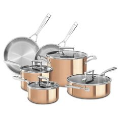 Kitchenaid KCPS10CP 10PC Clad Tri-Ply Copper Cookware Set New Free Shipping #KitchenAid