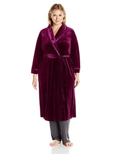 Oscar de la Renta Pink Label Womens Plus Size Velvet Robe Deep Mulberry 2X >>> Check this awesome product by going to the link at the image.