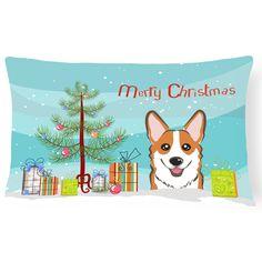Carolines Treasures Christmas Tree and Corgi Decorative Outdoor Pillow - BB1625PW1216