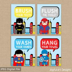 Printable Superhero Bathroom Wall Art Brush Wash Flush