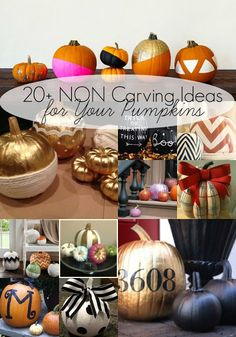 worley house: 20+ Awesome NON Carving Ideas for Pumpkins