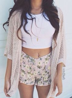 Floral shorts, wrap, & crop top