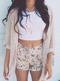 Floral shorts, wrap, & crop top