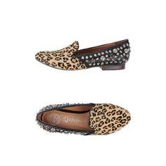 Mokassin - JEFFREY CAMPBELL  Ponyfell Nieten Leopardenmuster runde Spitze Gummisohle flacher Absatz Slippers ohne Keilabsatz Ohne Plateau ...