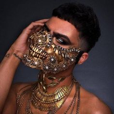 Gold Skull Mask Halloween Dia De Los Muertos Masquerade Mask Glam Gothic Costume Rave Burning Man Mask Men Women Day of the Dead Carnival Skeleton Halloween Costume, Halloween Makeup, Halloween Men, The Mask Costume, Look Festival, Half Skull, Mode Steampunk, Looks Halloween, Rave Mask