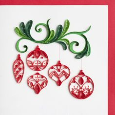 Become a Retailer of Quilling Cards made by Quilling Card. We also create Custom Quilling orders. Quilled Paper Art, Paper Quilling Designs, Quilling Paper Craft, Quilling Patterns, Paper Crafts, Quilling Christmas, Christmas Crafts, Red Ornaments, Christmas Ornaments
