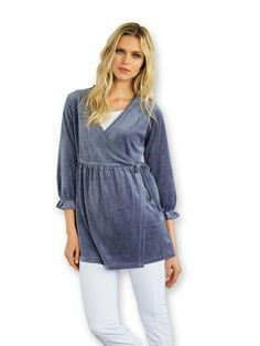 cd11e626ac1 La Redoute boho GREY BLUE VELOUR lace tunic long sleeve top UK 6 8 EU 34