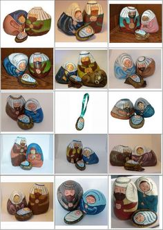 Various rock sizes and paint colors are used to create unique, one-of-a-kind nativity scene figures / nativity sets