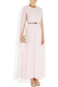 Alessandra RichRibbon-sleeve silk crepe de chine gown with Kenneth Jay Lane necklace, Valentino shoes, Charlotte Olympia clutch, Stella Mesh Supernatural bra and thong.