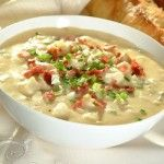 21 Day Fix Recipes - Baked Potato Soup | This is the perfect compliment to a cold fall evening, or in the summertime paired with some grilled steak.