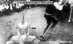 """Title of image: """"Japanese war crimes""""...My explanation: Sorry guys, but the bare foot guy running away from the squirting blood is not Japanese, did you not know that the Imperial Japanese Army wore nice uniforms and boots?...some people are so gullible they would believe anything!...p.s. don't you believe, that this photo is a fake?...I mean, even although the victim has suffered massive blood loss, just look how anaemic the torso looks!...it does not happen that quick!...he! he!"""