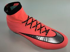 SR4U Black Reflective Soccer Laces on Nike Mercurial Superfly 4 Metal Flash Pack