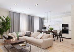 Modern Kitchen Interiors, Modern Home Interior Design, Apartment Interior Design, Home Living Room, Interior Design Living Room, Living Room Designs, Living Room Decor, Apartment Renovation, House Design