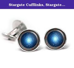 """Stargate Cufflinks, Stargate SG-1 Tie Clip, Stargate Atlantis Cuff Links, Stargate Universe Wedding Jewelry, Fathers Day Gift. -10% Off- purchases of two or more items from my amazon shop. For more cufflinks and tie clips check out my other listings by clicking the """"SharedImagination"""" link at the top of the listing above the product title. These cufflinks and tie clip feature a high quality image underneath glass. The glass gives the image a great shine and magnification which really..."""