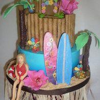 Luau/surf/lifeguard themed cake