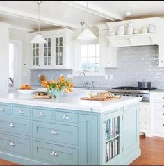two toned kitchen - painted blue island