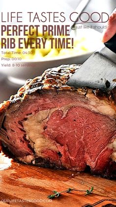 Rib Roast Recipe, Prime Rib Recipe, Roast Beef Recipes, Beef Recipes For Dinner, Rib Recipes, Beef Dishes, Food Dishes, Boneless Prime Rib Roast