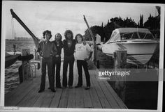 Brothers Robin Gibb, Maurice Gibb, Barry Gibb of band the 'Bee Gees' with their younger brother and singer Andy Gibb in Sydney, New South Wales.