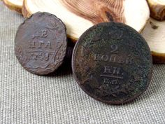 Two coins of imperial Russia. 2 kopecks 1816. Denga. 1748. Antique #Russian #Coin, Antique copper. This is a great collectible item. 100% authentic.  Good shopping! #ancient #archaeological #finds #bronze #amulet #viking #pendants #antiques #coin #russian #copper #tsar #money #denga #vintage ➡️ http://jto.li/KM29f