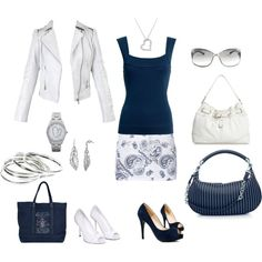 Blue, White, and Silver, created by tamijo01.polyvore.com