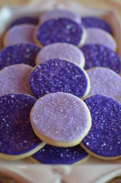 Pretty cookies for a Sofia the First Birthday Party. simple sugar cookies with purple icing and sprinkles Princess Sofia Birthday, Sofia The First Birthday Party, 4th Birthday Parties, Birthday Ideas, 3rd Birthday, Purple Princess Party, Birthday Crowns, Fete Audrey, Purple Desserts