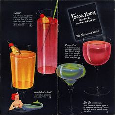 Swank Pad - vintage menu from the classic San Francisco tiki bar, the Tonga Room. Vintage Menu, Vintage Tiki, Vintage Recipes, Retro Recipes, Vintage Kitchen, Vintage Style, Bars Tiki, Cocktails Vintage, Tropical Drink Recipes