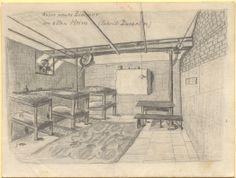 """""""Unser neues Zimmer im alten Heim (Fabrik Ducarin)"""", Bleistiftzeichnung: gleichzeitig Brief an die Ehefrau. Blick in einen Raum, der mit drei Stockbetten und einem Tisch sowie zwei Bänken versehen wurde. An der Wand befindet sich ein Hängeschrank. Bestand 192-31, Nr. 47."""