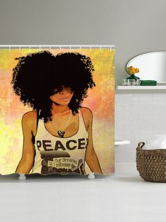 Shower Curtain with Hip Hop Afro Hair Girl Print