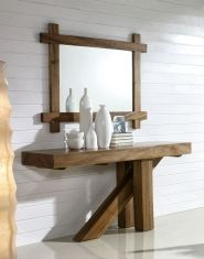 Consolas de Madera Suar : Modelo SUWAR X Wood Pallet Furniture, Modern Bedroom Furniture, Teak Furniture, Woodworking Furniture, Unique Furniture, Furniture Design, Entrance Table, Entryway Tables, Living Room Mirrors