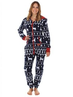 Amazon.com: Ugly Christmas Sweater Party - Fair Isle Blue Adult Jumpsuit: Clothing