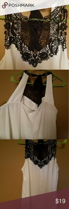 City Chic Top Black crocheted halter top with white chiffon, Brand new without tags, never worn. City Chic Tops Blouses