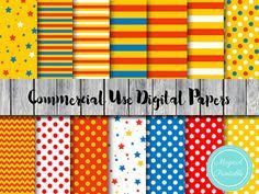 Circus Digital Paper Carnival Digital Papers by MagicalStudio