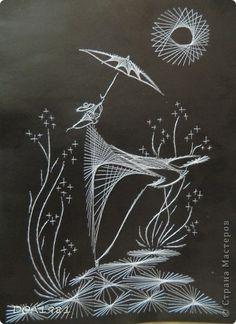Картина панно рисунок Изонить полёт в ночи Картон Нитки
