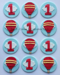 Fondant Cupcake Toppers  Hot Air Balloons by TopItCupcakes on Etsy, $19.99