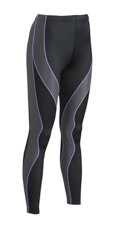 929e5d5658aa0 CW-X Conditioning Wear Women's PerformX Tights, Black/Grey/Lavender Stitch,