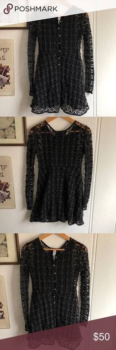 FREE PEOPLE CROCHET DRESS Cutest FP crochet dress in black. Button up detail with slip underneath and sheer sleeves. I've gotten so many compliments with this piece! Above knee, best fits small. Free People Dresses