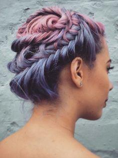 Purple pink fishtail braided updo dyed hair @flamingoamy