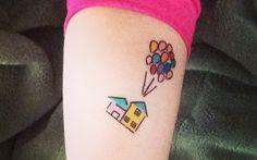 Disney Up tattoo Dad Tattoos, Future Tattoos, Small Tattoos, Tatoos, Home Tattoo, I Tattoo, Disney Watercolor Tattoo, Fuchs Tattoo, Disney Princess Half Marathon