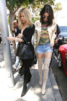 Kendall Jenner Wore Thigh-High Boots With Cutoffs Out to Lunch via @WhoWhatWear
