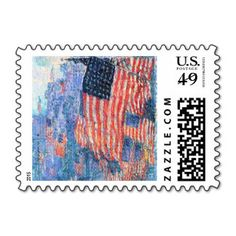 Avenue in the Rain, Hassam, Vintage Impressionism Stamps