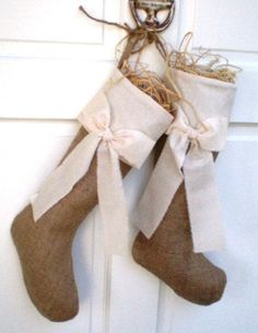 Burlap Christmas stocking door decor. | #christmasgift http://www.sweitrade.net  add white fur at top for inside Stockings too!
