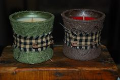 Dollar store candles, prim style! Love this Blog and all the tutorials!