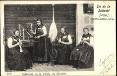 Postcard Munster Münster Elsaß Haut Rhin, Costumes de la Vallée, Spinnräder, Schlucht  postally used 1902